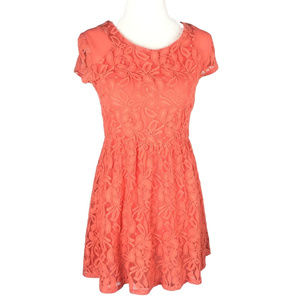 COINCIDENCE & CHANCE XS Orange Lace Skater Dress